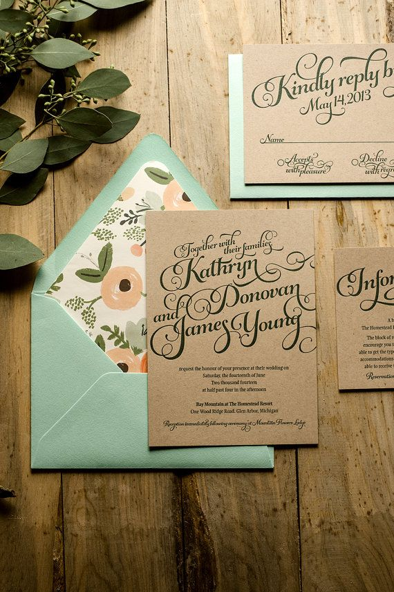 Rustic Wedding Invitation, Mint  Kraft Wedding Invitation, Rustic Wedding Invite, Calligraphy Invitation - Deposit to Get Started