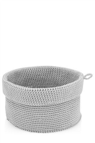 Grey Medium Knitted Basket