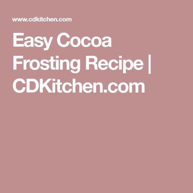 Easy Cocoa Frosting Recipe   CDKitchen.com