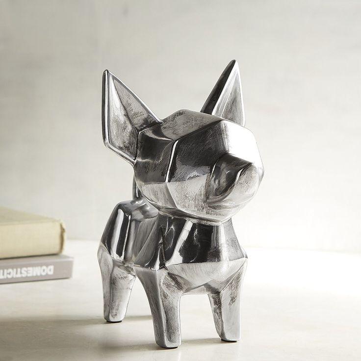 Ceramic Chihuahua Dog Sculpture Silver