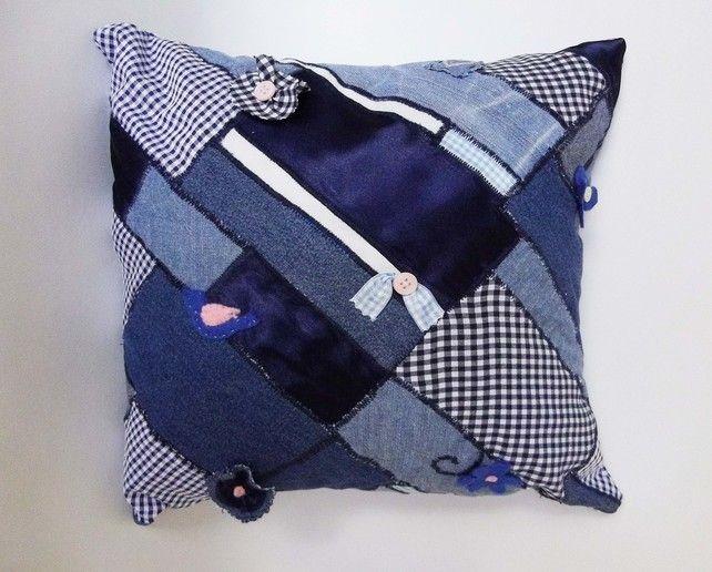 patchwork blue cushion £9.00