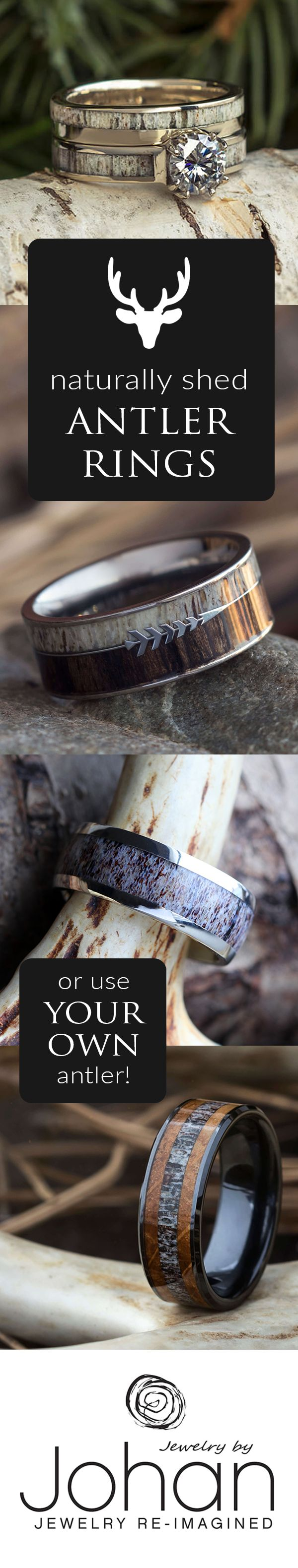 Browse hundreds of naturally shed deer antler wedding rings, or create your own, custom wedding band from the antler off your latest trophy buck! #weddingring