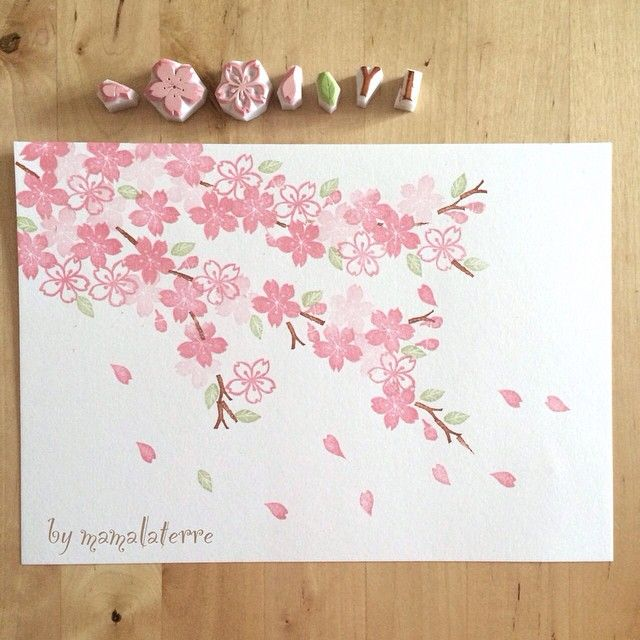First stamps after long holiday ... Inspiration from Tokyo Cherry blossom. Falling in love with Sakura