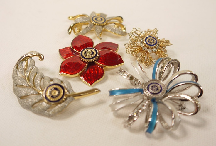 Vintage Brooch Collection - Inner Wheel Brooches x 5. $12.50, via Etsy.