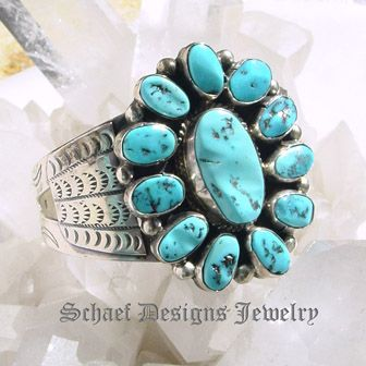 Turquoise ( sleeping beauty) & sterling silver vintage cluster Bracelet | New Mexico