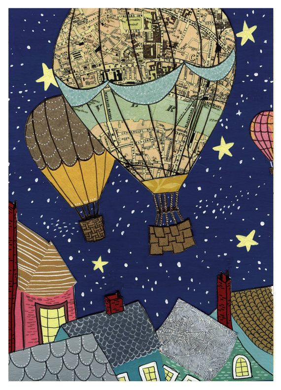 Hot Air Balloon Night Sky - Fly Me to the Stars - Print of Original Painting Collage by Paper Taxi