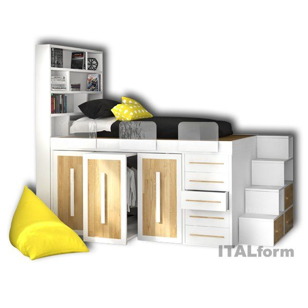 Buy Impero Young Bed With Closet Underneath At Italform Design Bed Linens Luxury Kids Beds With Storage Space Saving Beds