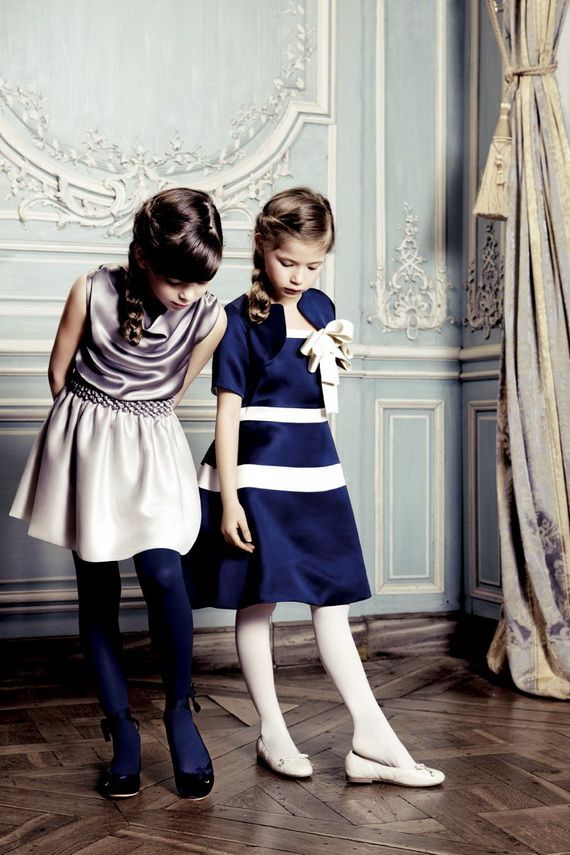 Dior Kids Fashion Clothes.on the left.. dark tights and cute shoes with ribbons tied around the ankles.