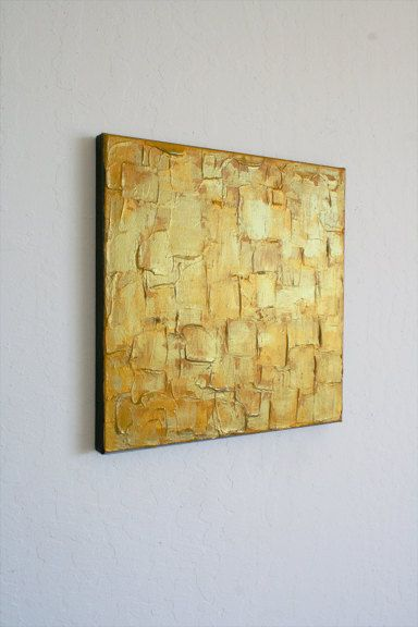 Original Abstract Gold Painting  Palette knife Art  Metallic