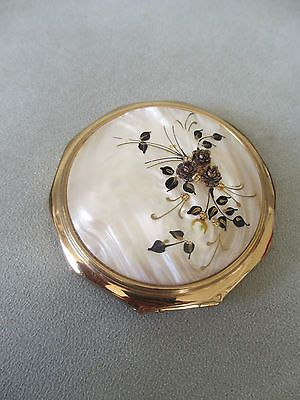 Vintage Stratton Gold Floral Mother of Pearl Effect Hand Mirror Powder Compact