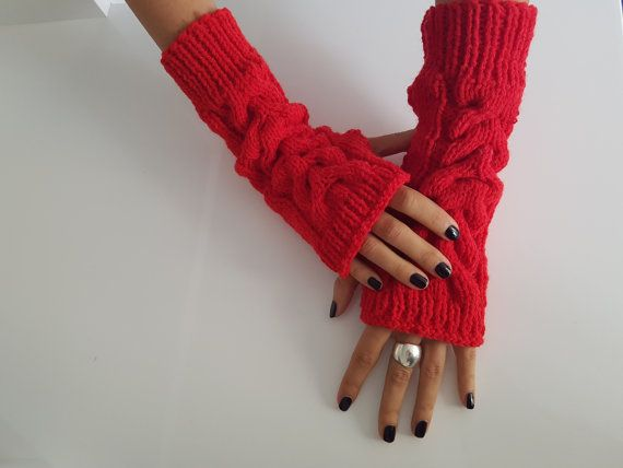 Red wool women fingerless knit gloves Fall by TogetherDifferent