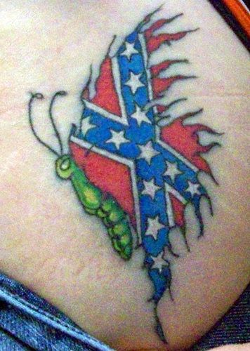 Rebel Flag Tattoos for Women | butterfly tattoo with rebel flag ...