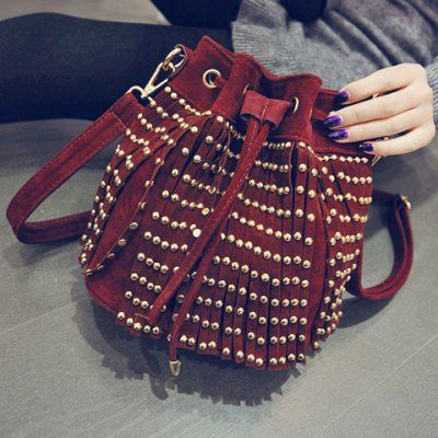 Fashion Drawstring and Fringe Design Women's Shoulder Bag