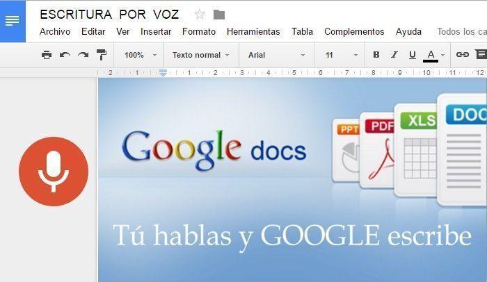Nueva funcionalidad de Google Docs: Dictado por voz. Podemos transcribir audios a texto sólamente con nuestra voz, sin necesidad de tocar el teclado.
