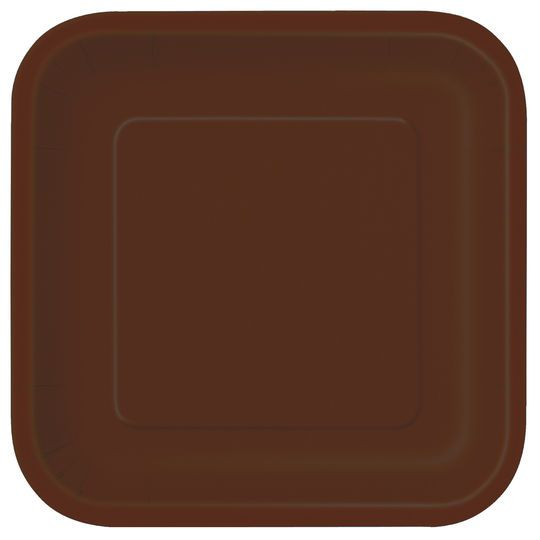 """9"""" Square Brown Dinner Plates, 14ct"""