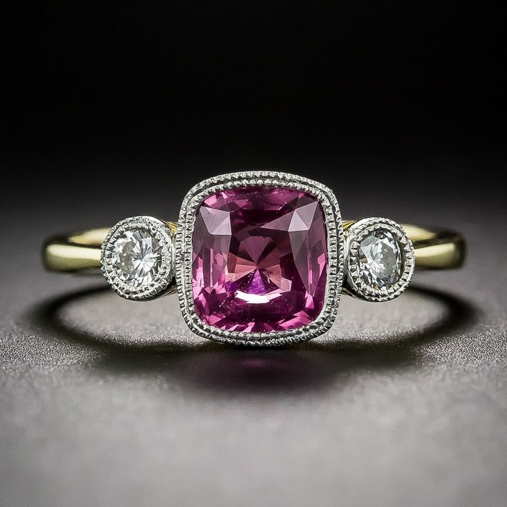 Intense Pink Sapphire and Diamond Ring