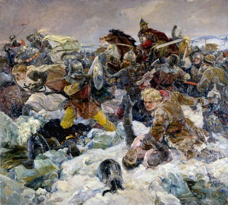 The Rus pushing back the Teutonic Knights at the Battle of Lake Peipus, Great Northern Crusade