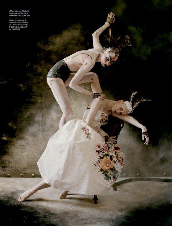 Photographer: Tim Walker Fashion Editors Katie Grand And Sandy Powell Set Design: Rhea Thierstein Head Stylist & Body Paint: Julien D'ys Models : Karen Elson & Edie Campbell