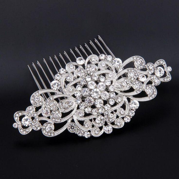 Rhinestone Bridal Hair Comb Art Deco Wedding