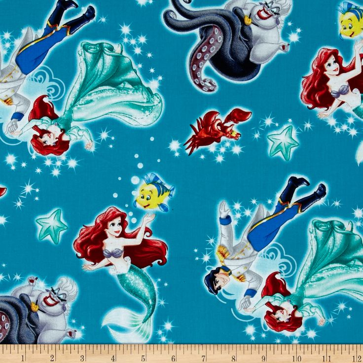 Disney Princess Movie Little Mermaid Ariel Badge Turquoise Fabric