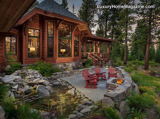 Custom home in truckee luxury homes house backyard for Lake home landscape design
