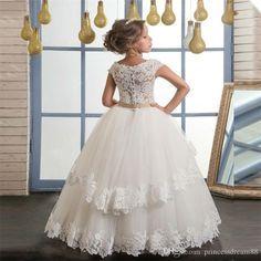Vestidos a estrenar de la florista para el vestido de bola de la boda Vestidos de la primera comunión con los appliques Partido del desfile Niñas vestido