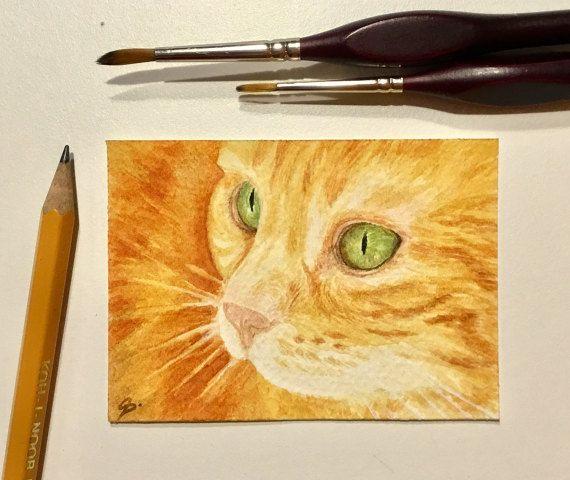 Gatto rosso  ACEO  ATC  arte gatto  ORIGINALE  di OrmeDiCaffe
