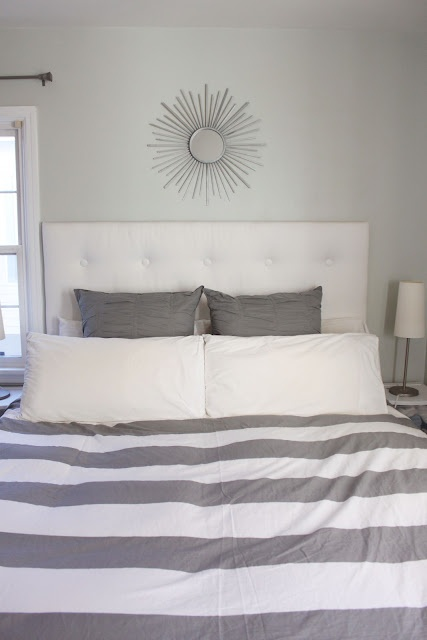 West Elm Duvet. Love gray and white together