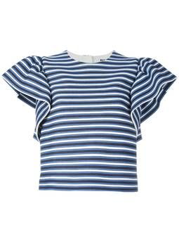 полосатая блузка с оборками на рукавах