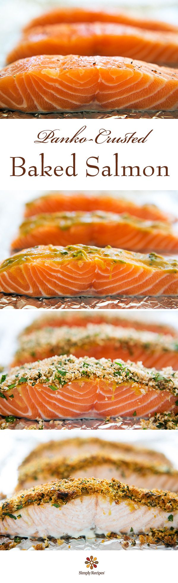 Panko-crusted baked salmon! Salmon steaks or fillets coated in honey mustard, breaded with Japanese panko crumbs, and baked to perfection. #easy #dinner On SimplyRecipes.com