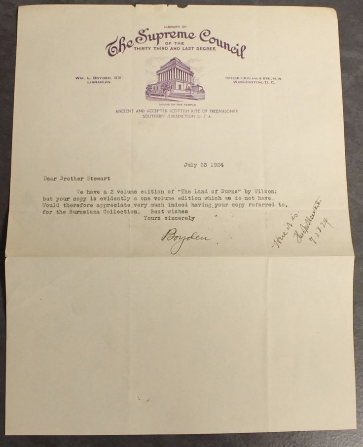 Library Supreme Council Scottish Rite Freemasonry 1924 Signed Letter Boyden