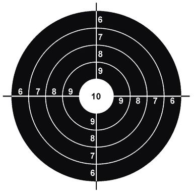 Definition of Target: This is an example of a paper target with a round bullseye. This is the most common type of target, but is not always the best for a given application.