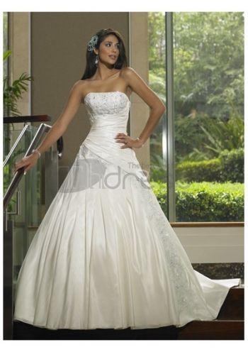 Abiti da Sposa Senza Spalline-Semplici alla moda spiaggia abiti da sposa senza spalline