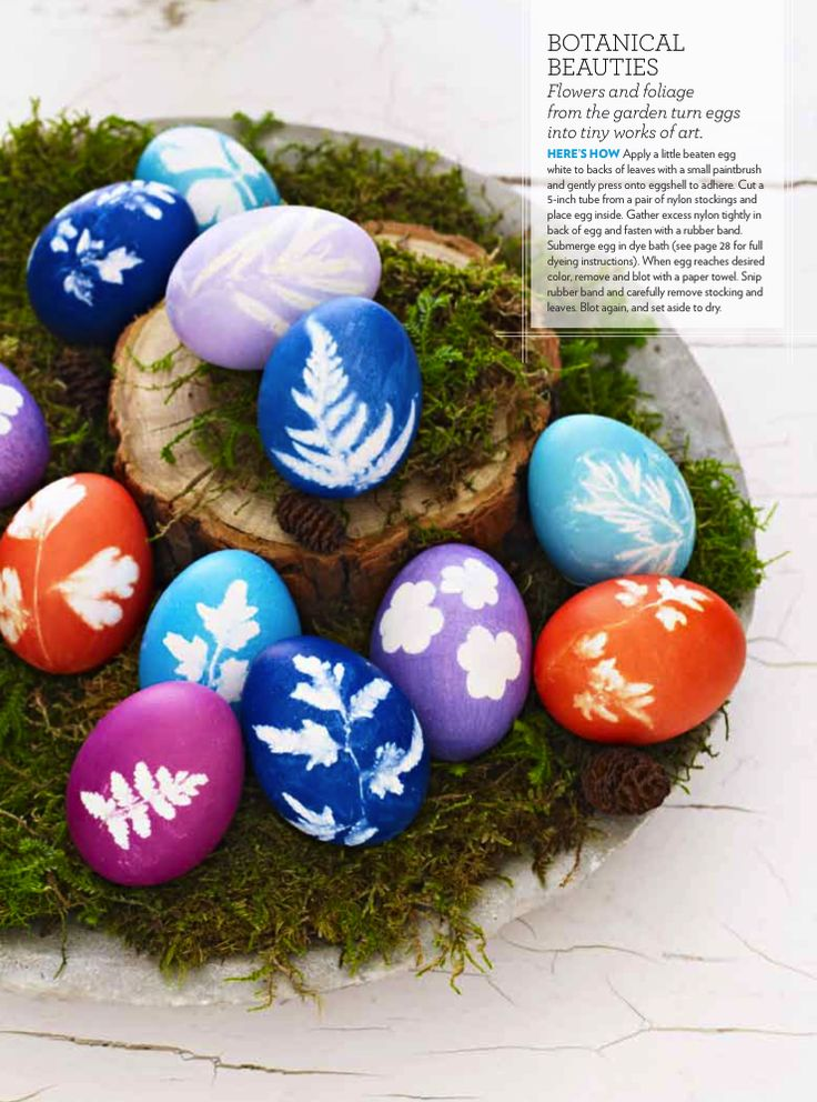 Botanical Eggs:  Paint egg whites to one side of leaf or flower and glue it to the egg shell.  Tightly tie a bit of nylon stocking around the egg and vegetation.  Put egg into dye water like usual then carefully remove nylon and leaf/flower.