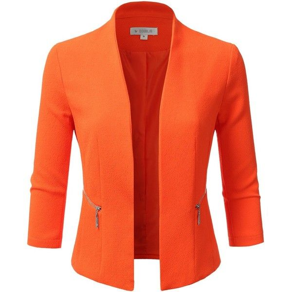 Doublju Women's Plus Size Classic Collarless Open Front Blazer Jacket ($25) ❤ liked on Polyvore featuring outerwear, jackets, blazers, plus size blazers, women's plus size jackets, orange blazer jacket, orange jacket and plus size jackets