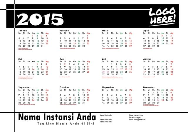 Kalender 2015 Desain 17 | 6 Desain Kalender 2015 Gratis Download Lengkap Hari Libur Nasional Cuti Bersama