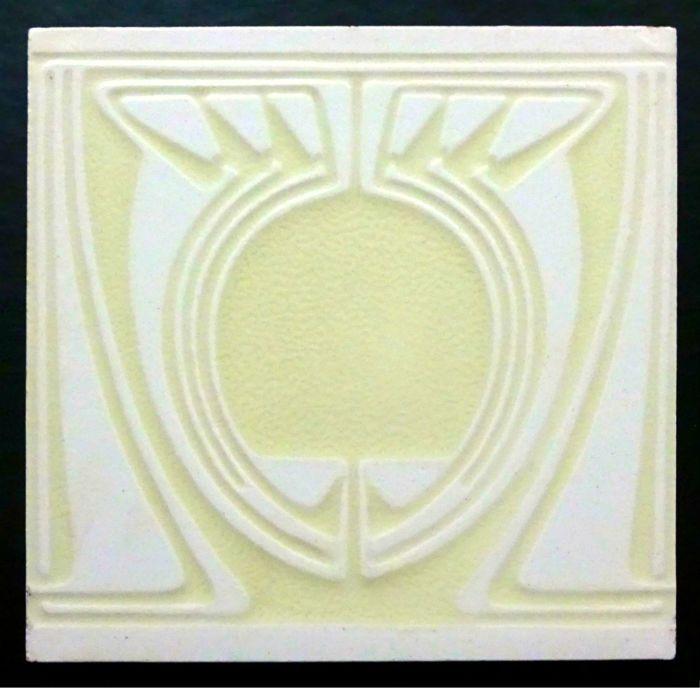 Pressed in refief. Marked: VILLEROY & BOCH MOSAIKFABRIK METTLACH Designed by Peter Behrens (1868-1940) Size: 14,6 x 14,6 x 1 cm. Condition: A few hardly visible tiny bites on the edges. The glaze is perfect. In excellent condition. More about Peter Behrens: http://www.jugendstilfliesen.de/fliesen-und-kacheln/kuenstler-des-jugendstil/peter-behrens/ More about Villeroy & Boch: http://www.jugendstilfliesen.de/fliesen-und-kacheln/he...