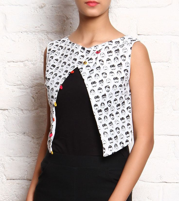 White Black People Printed Cotton Silk #Jacket With Overlapped Cut #Indianroots