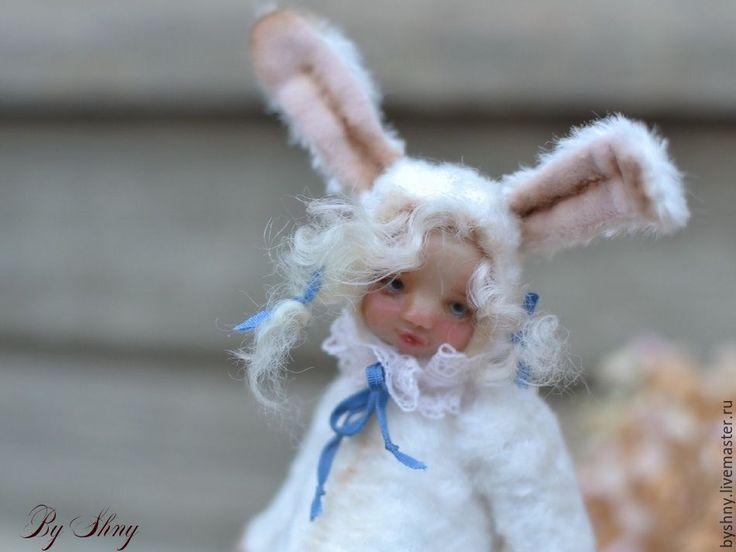 Купить Мой милый Зайчик - белый, белый плюш, тедди долл, белый зайчик, кролик