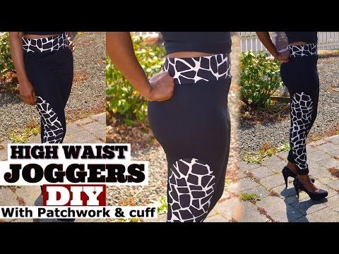 DIY Joggers with high waist and cuffs/ designer joggers/ yoga/ Loungewear - YouTube