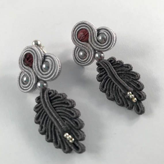 Grey++soutache+earrings++Gift+for+her
