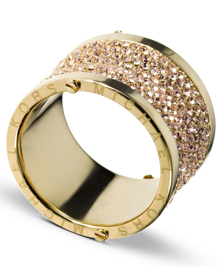Michael Kors Ring, Gold Tone Pave Barrel Ring - Fashion Jewelry - Jewelry & Watches - Macy's