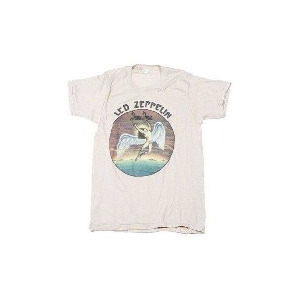Led Zeppelin Swan Song Vintage T-Shirt 1975 | Music/Concert Tees |... ❤ liked on Polyvore featuring tops, t-shirts, vintage t shirts, vintage tops and vintage tees