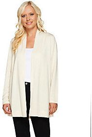As Is Susan Graver Open Front Cardigan w/Back Novelty Stitch Detail