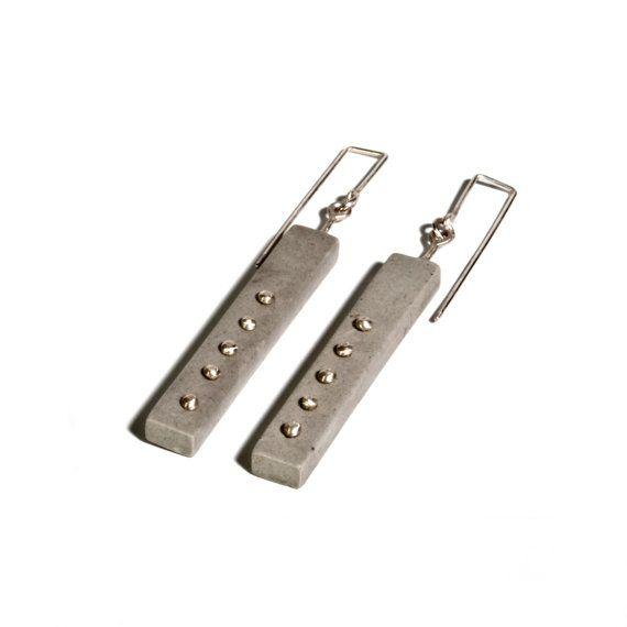 Column earrings - concrete jewelry / minimalist / modern / architectual