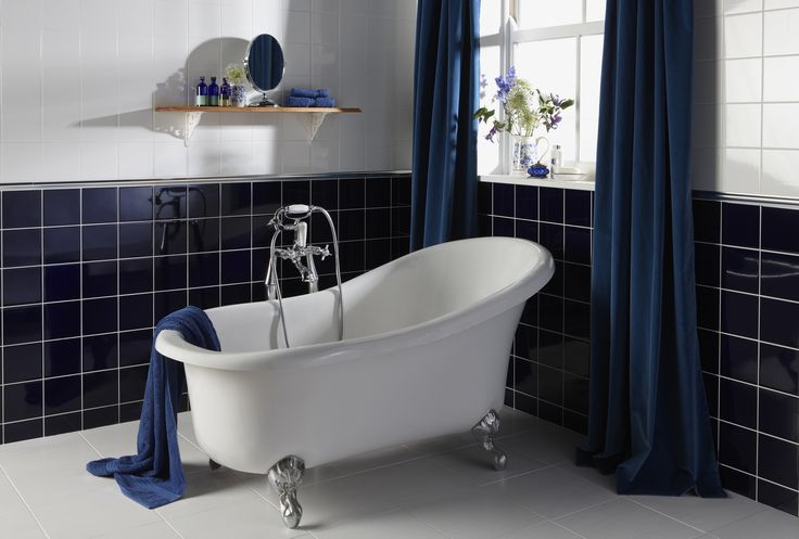 Navy blue bathroom tiles | Blue bathroom decor, White ...