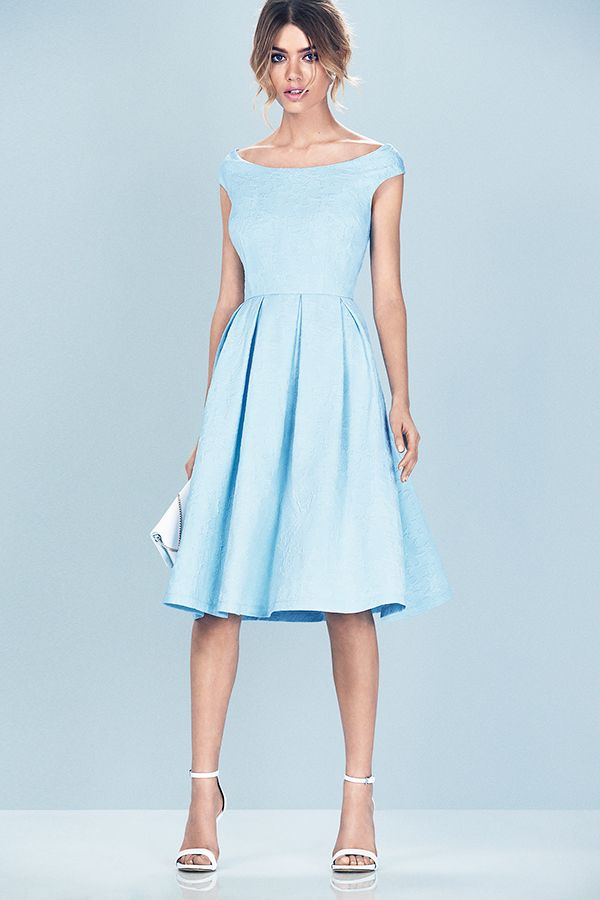 Look like you've just stepped out of the movie Grease, in this 50s inspired prom dress in cute baby blue. #newlook #fashion