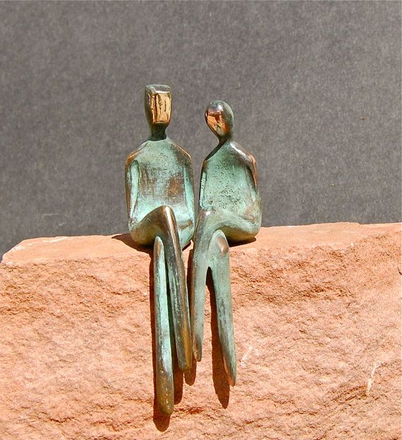 T H E - T W O - O F - U S is my first pair of my sculptures that I have cast in bronze. I have sculpted for years before I created this favorite in