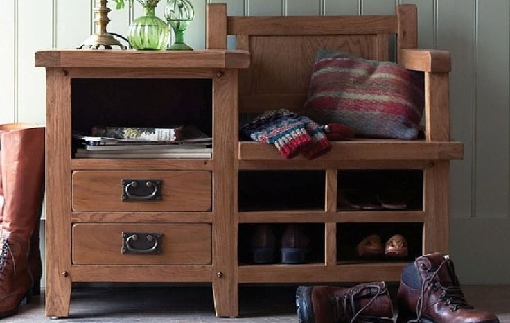 Hall Bench Waxed Oak Finish Furniture Storage Drawers Traditional Hallway Room