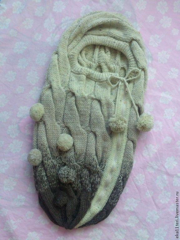 Купить Кокон для малыша - бежевый, кокон, кокон для новорожденного, кокон вязаный, конверт для малыша